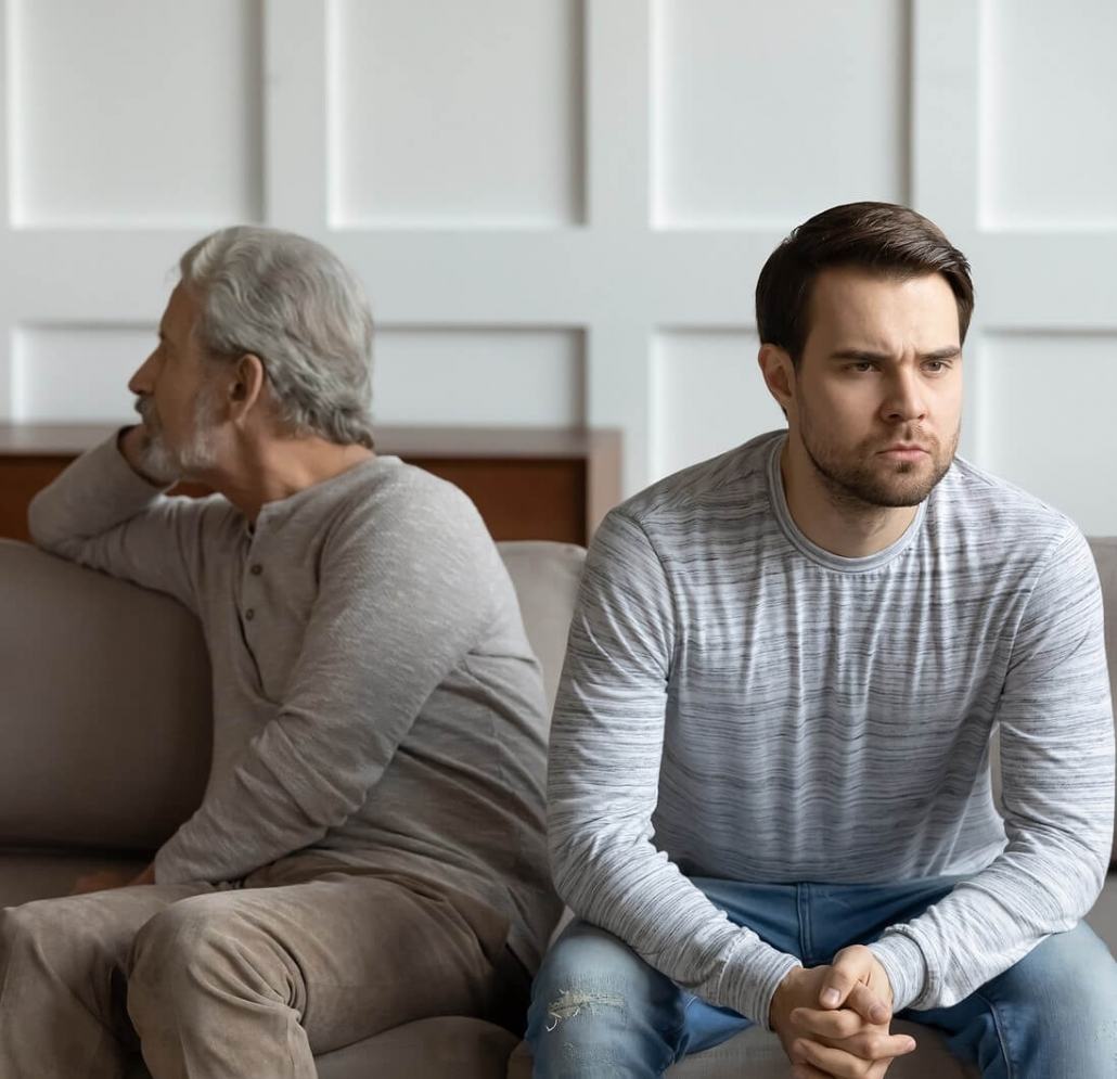 Father and son in conflict sitting on couch. Dealing with family is challenging, and we don't always agree. Get support with family therapy in Torrance, CA and begin to communicate better. Or if you're looking for specific help I offer mother-son therapy, mother-daughter therapy, therapy for siblings, and more.